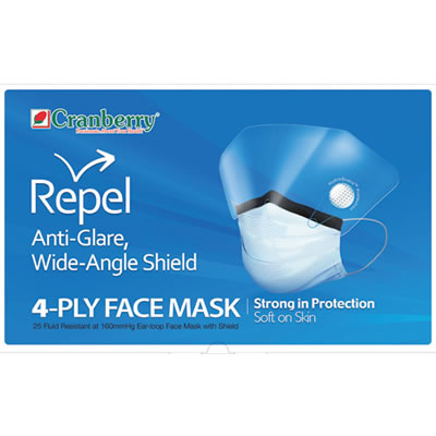 REPEL 4-PLY FACE MASK WITH SHIELD
