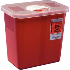 Multipurpose Sharps Containers with Rotor Opening Lid - Multi-Purpose Sharps Containers - 2 Gallon, Red