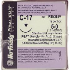Perma Sharp® Polyglycolic Acid (PGA) Undyed Sutures - Absorbable, C-17, Reverse Cutting, 12/Box - Needle Size 4-0, Length 18