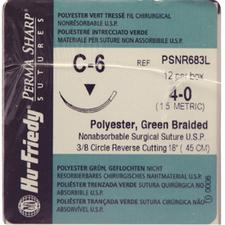 Perma Sharp Polyester Green Braided Sutures- Nonabsorbable, C-6, 3/8 Circle Reverse Cutting, Size 4-0, Length 18
