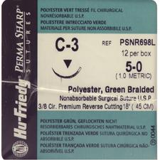 Perma Sharp Polyester Green Braided Sutures- Nonabsorbable, C-3, 3/8 Circle Premium Reverse Cutting, Size 5-0, Length 18