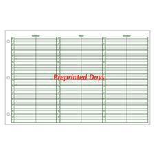 Jumbo Preprinted Days Week-in-View Appointment Sheets, 15-Minute Intervals, 8 a.m.- 10 p.m., 100/Pkg - 2 Columns