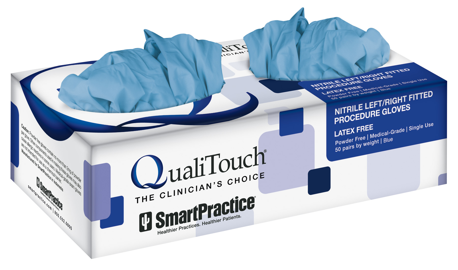 QualiTouch Blue Nitrile Fitted Gloves