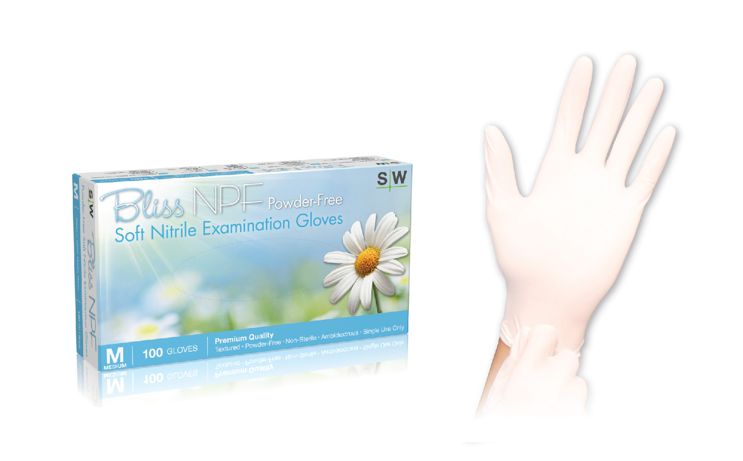 BLISS NPF POWDERFREE SOFT NITRILE EXAM GLOVES